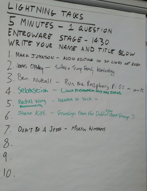 """Lightning talks are short talks lasting no more than 5 minutes with only one audience question allowed. It's an oppurtunity for some """"off-the-wall"""" topics but the ones here are all pretty standard :)"""