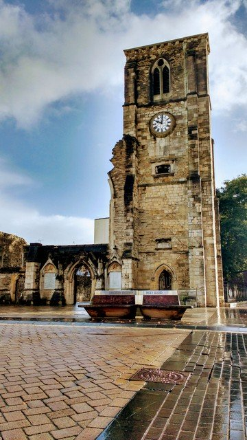 The Holy Rood church is one of four major churches and it's damage from WWII is very visible. It commemorates those of died at sea.