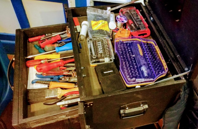 This comprehensize toolbox was custom-made  by the owner Neville. Very cool.