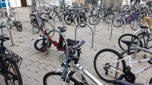 This photo was taken by me when we discovered the missing bike. It should have been there next to the red foldable one.